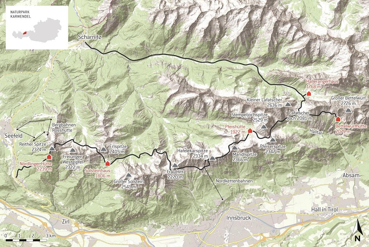 Karte Karwendel Höhenweg